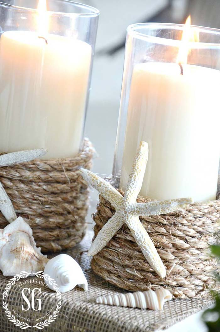 Burlap Rope Candle Holders with Starfish Details #beach #coastal #decoration #decorhomeideas