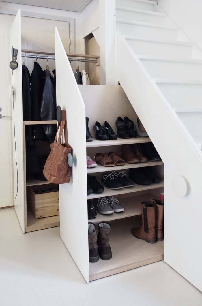 Closets Under Stairs for Coats and Shoes #storage #builtin #decor #decorhomeideas