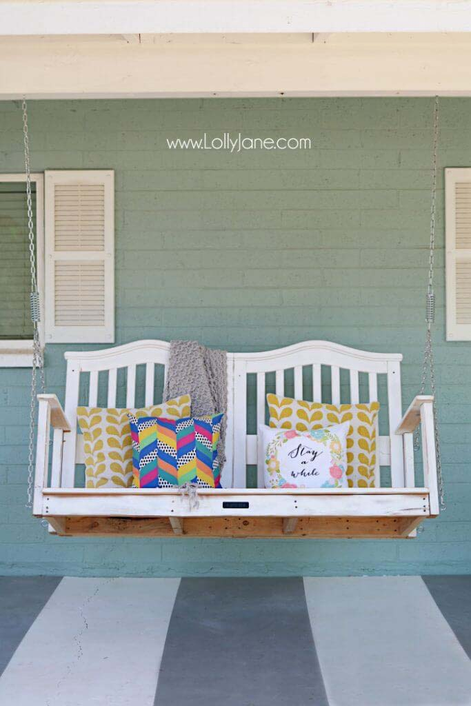 Colorful Baby Crib Into a Porch Swing #diy #paint #garden #decorations #decorhomeideas