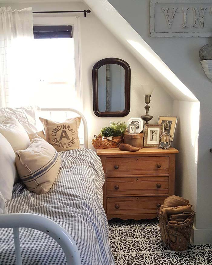 A Comfy Bed with a Small Dresser #bedroom #small #design #decorhomeideas