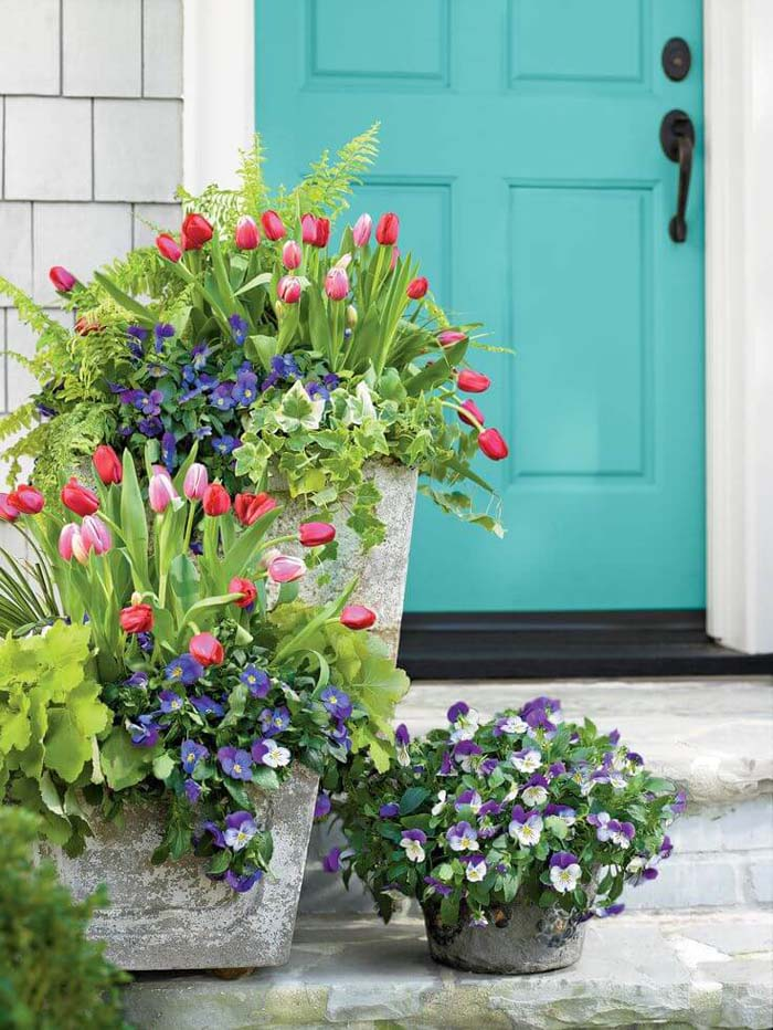 Concrete Planters with Blooming Tulips and Pansies #diy #planter #porch #decorhomeideas