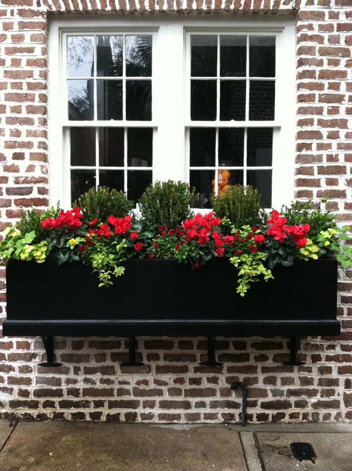 Country Traditional Black-on-brick Flower Box #planter #box #window #decorhomeideas