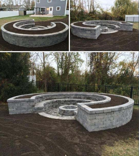 Crescent-Shaped Firepit #diy #round #firepit #decorhomeideas