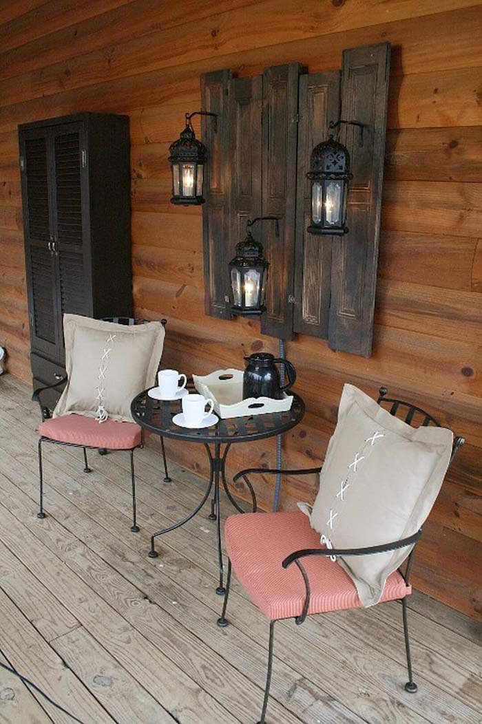 Dark Stained Wood Wall Hanging with Lanterns #porch #wall #decor #decorhomeideas