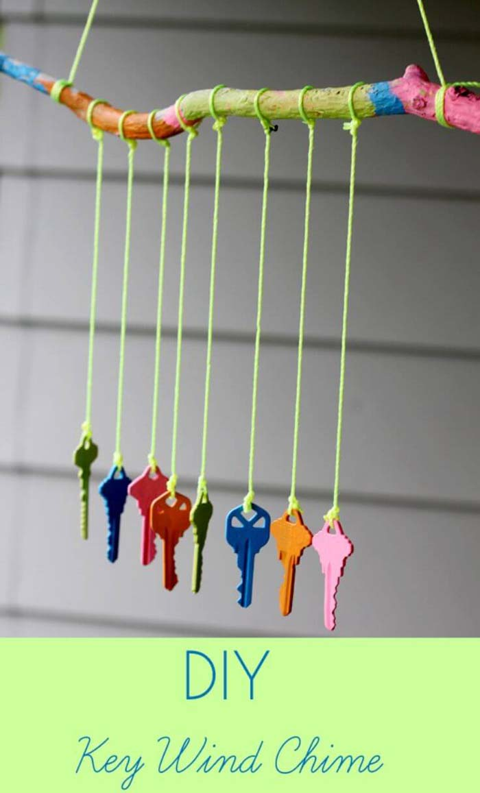 DIY Key Wind Chime #diy #paint #garden #decorations #decorhomeideas