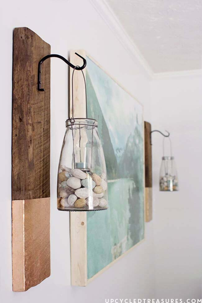 DIY Modern Rustic Wall Hanging #diy #masonjar #lights #decorhomeideas