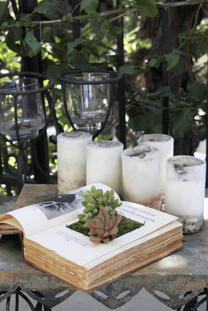 Easy DIY Vintage Book #garden #container #planter #decorhomeideas