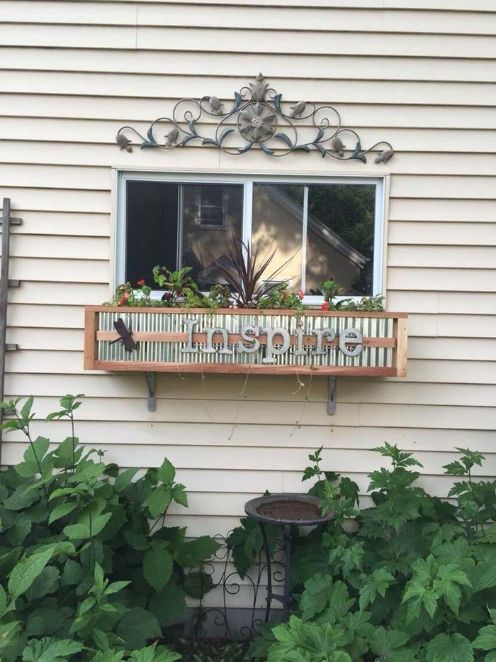 Farmhouse Tin and Wood Box #planter #box #window #decorhomeideas