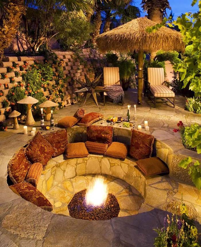 A Fire Hole with an Island Feel #diy #round #firepit #decorhomeideas