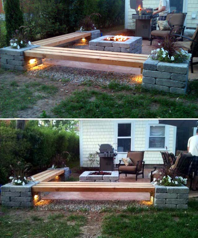 Fire Pit With Wooden Bench #diy #patio #decorations #decorhomeideas