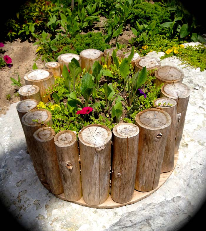Flower Planter with Logs #garden #container #planter #decorhomeideas