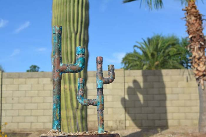 Galvanized Metal Pipes Cactus #garden #upcycled #diy #decorhomeideas