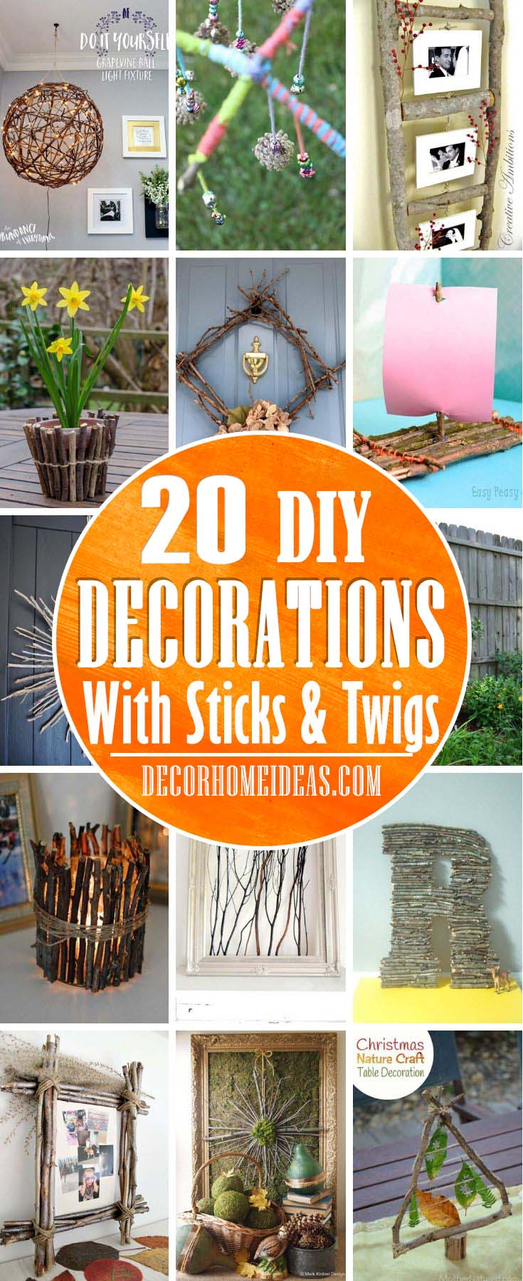 Home And Garden Sticks And Twigs DIY. Inexpensive ideas on how to spruce up your home and garden decor with sticks and twigs. Easy projects that could be done in no time. #decorhomeideas