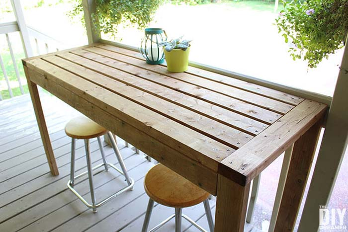 How to Build a 2×4 Outdoor Bar Table #diy #outdoor #furniture #decorhomeideas
