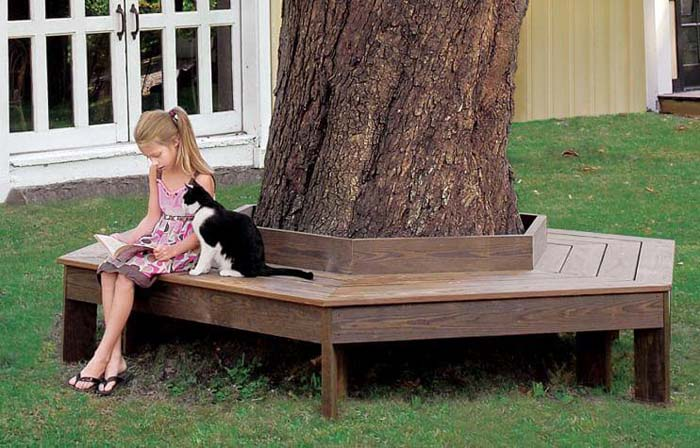 How to Build a Tree Bench #diy #outdoor #furniture #decorhomeideas