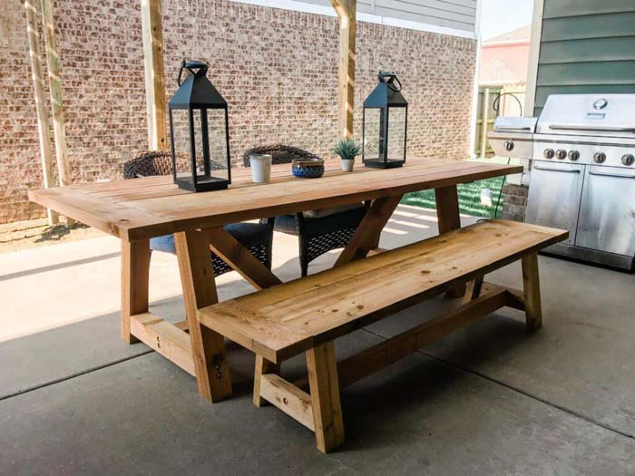 Kitchen Table with Benches #diy #outdoor #furniture #decorhomeideas