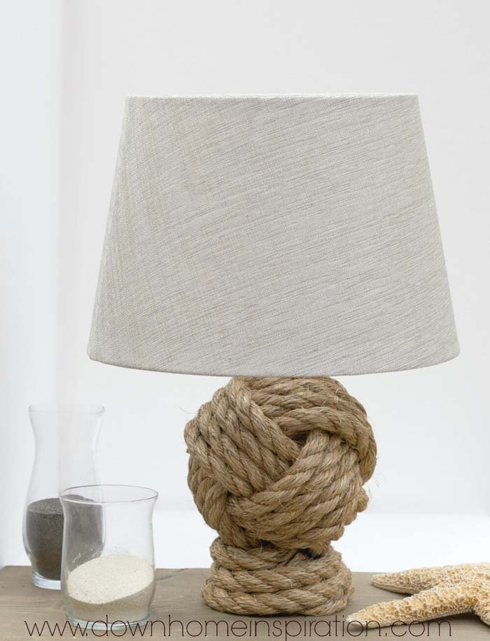 Knockoff Rope Knot Lamp #beach #coastal #decoration #decorhomeideas
