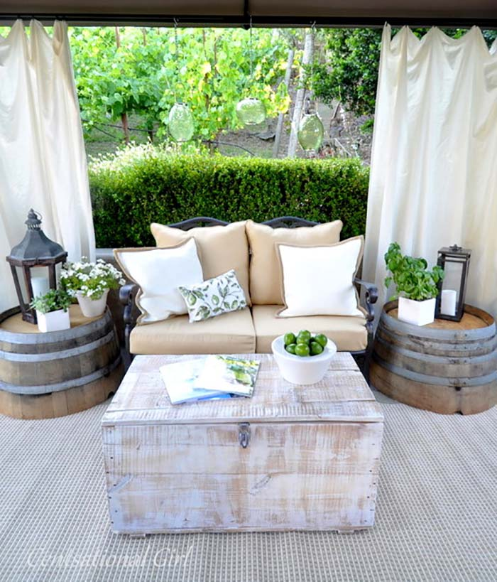 Love Seat and Washtub Tables #diy #patio #decorations #decorhomeideas