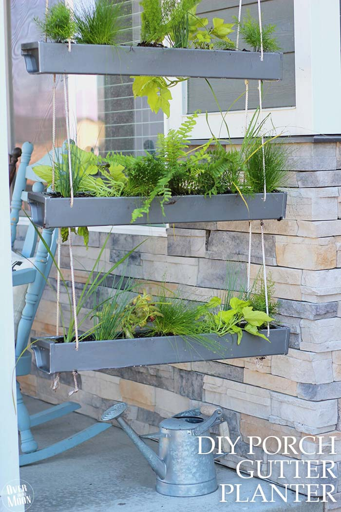 Make Your Own Hanging Gutter Planter #diy #planter #porch #decorhomeideas