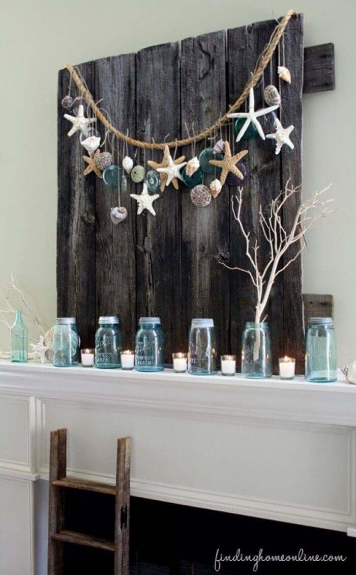 Mantle Decorations of Sea Glass and Starfish #beach #coastal #decoration #decorhomeideas
