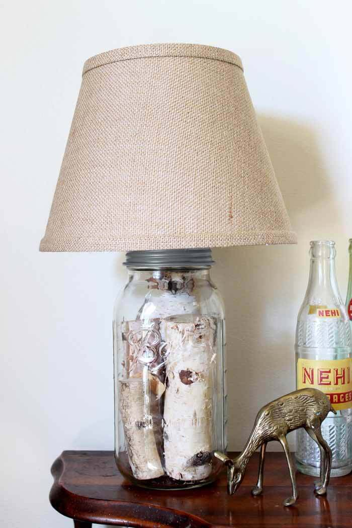 Mason Jar Table Lamp #diy #masonjar #lights #decorhomeideas