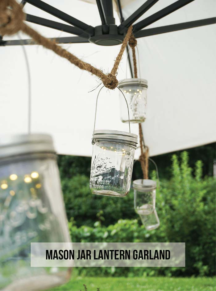 Mini Mason Jar Lantern Garland #diy #masonjar #lights #decorhomeideas