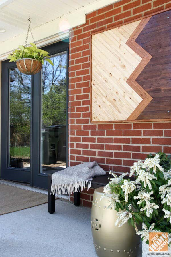 Modern Stained Wood Wall Hanging #porch #wall #decor #decorhomeideas