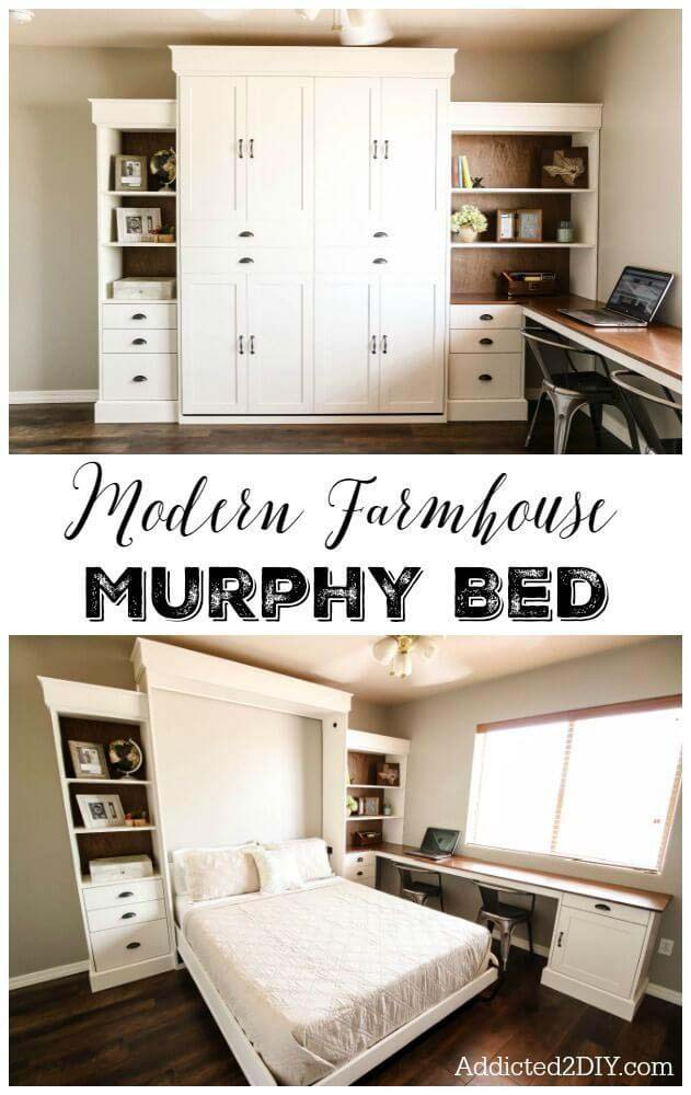 A Murphy Bed with Ample Storage Space #bedroom #small #design #decorhomeideas