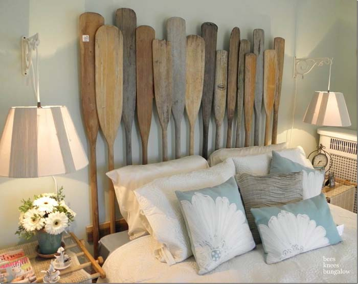 A Nautical Headboard with Vintage Oars #beach #coastal #decoration #decorhomeideas