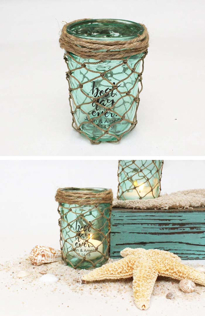 DIY Net-Wrapped Mason Jars #beach #coastal #decoration #decorhomeideas