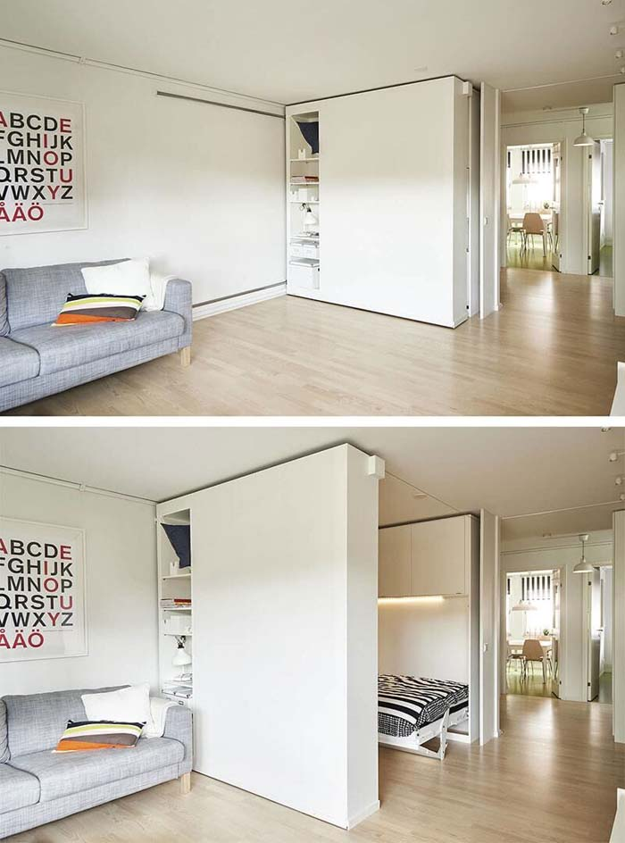 From Office to Bedroom with the Slide of a Storage Wall #storage #builtin #decor #decorhomeideas