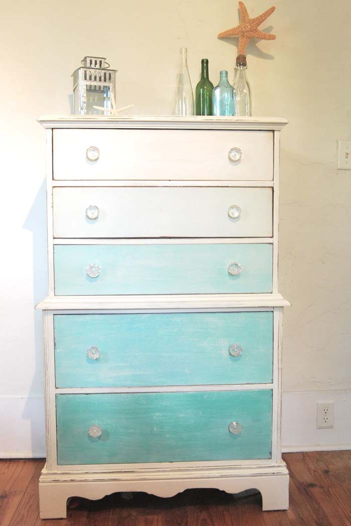 Ombre Dresser Makeover In Beach Theme #beach #coastal #decoration #decorhomeideas