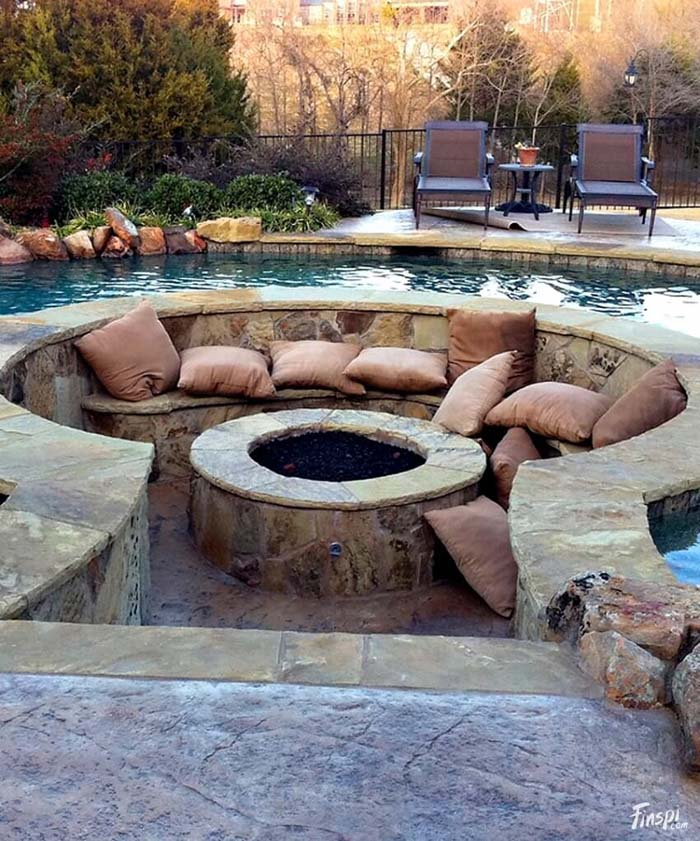 Pit with Pillow in a Pool #diy #round #firepit #decorhomeideas