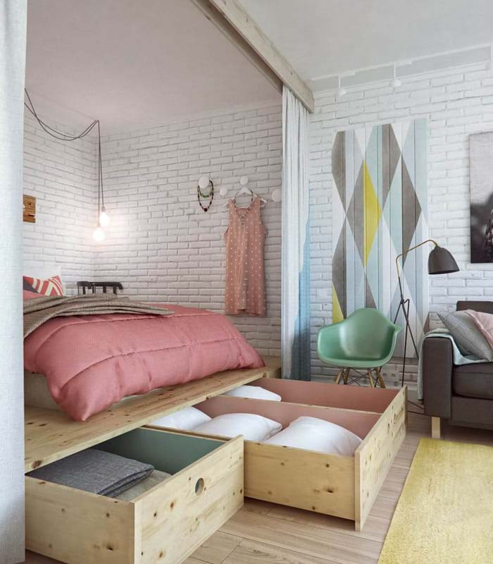A Raised Floor With Storage Galore #bedroom #small #design #decorhomeideas