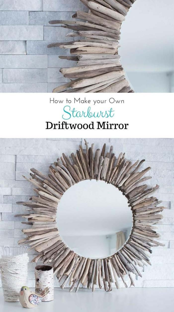 Round Mirror Designed with Pieces of Driftwood #beach #coastal #decoration #decorhomeideas