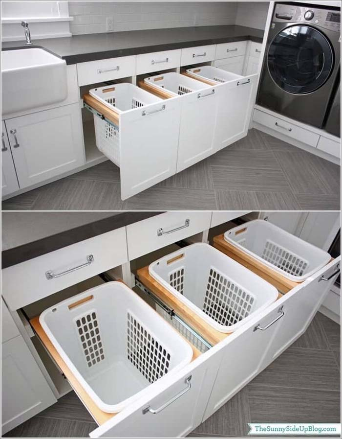 Sort and Hide Your Dirty Laundry #storage #builtin #decor #decorhomeideas