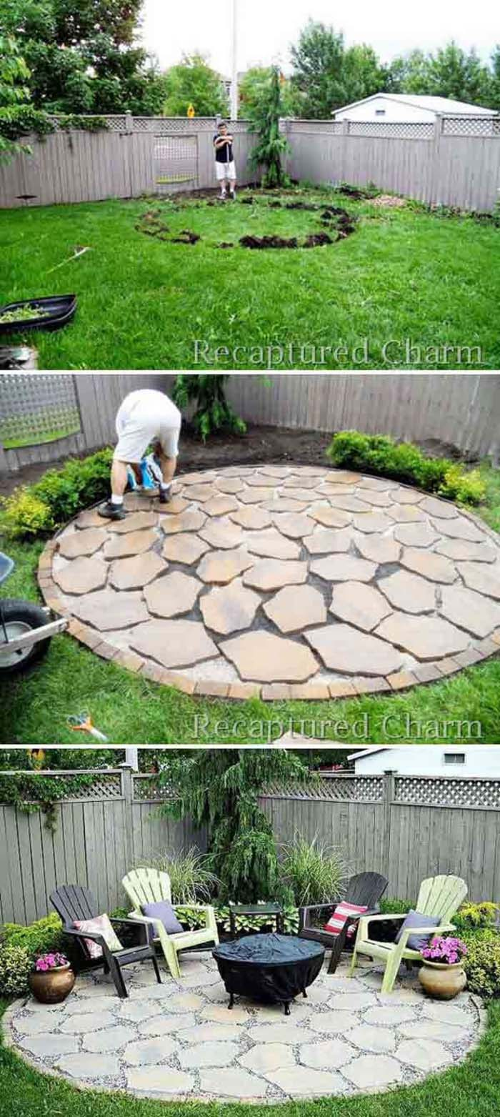 A Stone Patio for Backyard Entertainment #diy #round #firepit #decorhomeideas