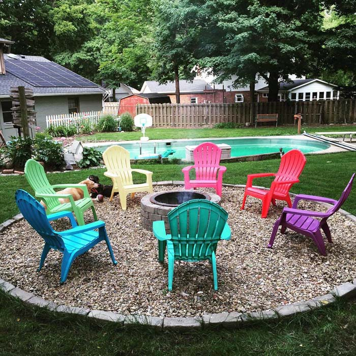 Stone Pit with a Rainbow of Chairs #diy #round #firepit #decorhomeideas