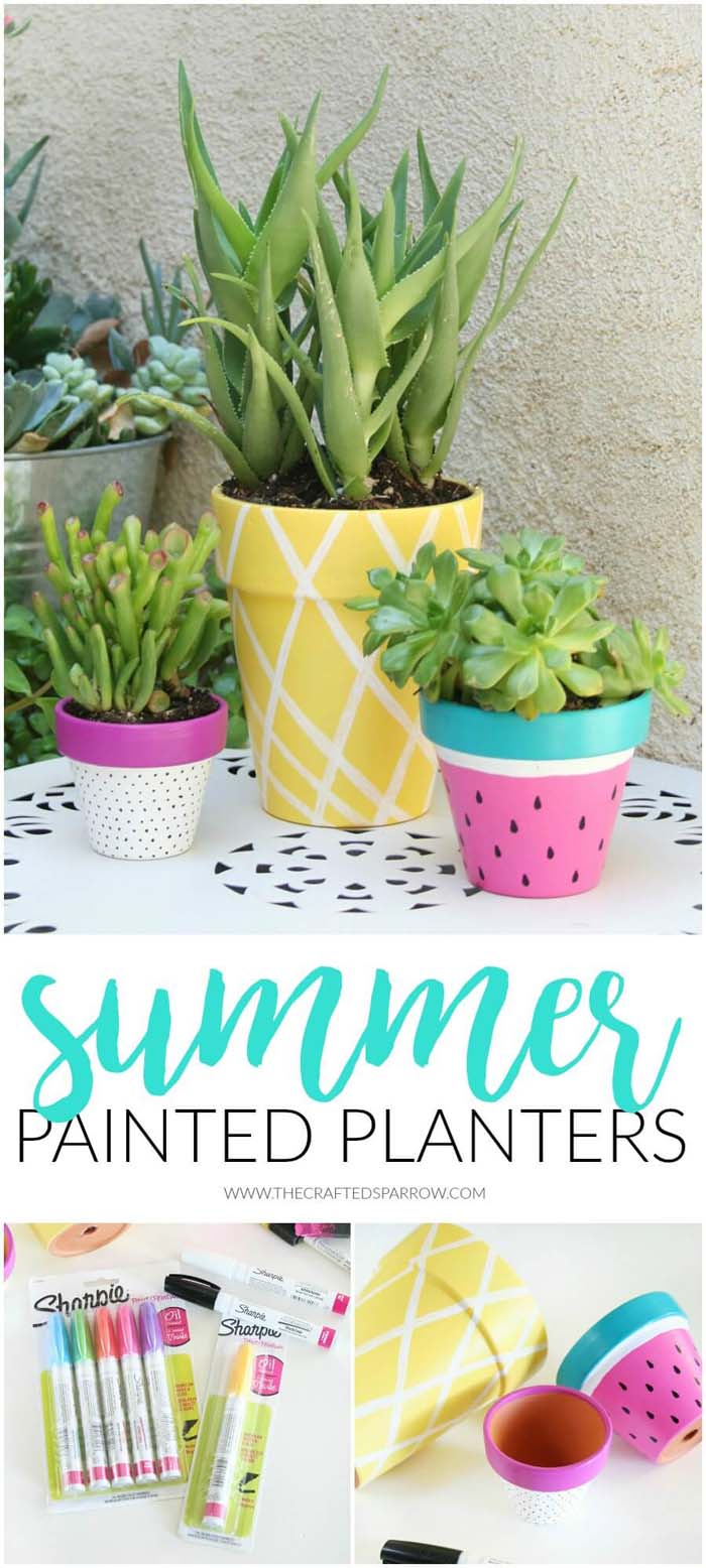 Summer Painted Planters #diy #paint #garden #decorations #decorhomeideas
