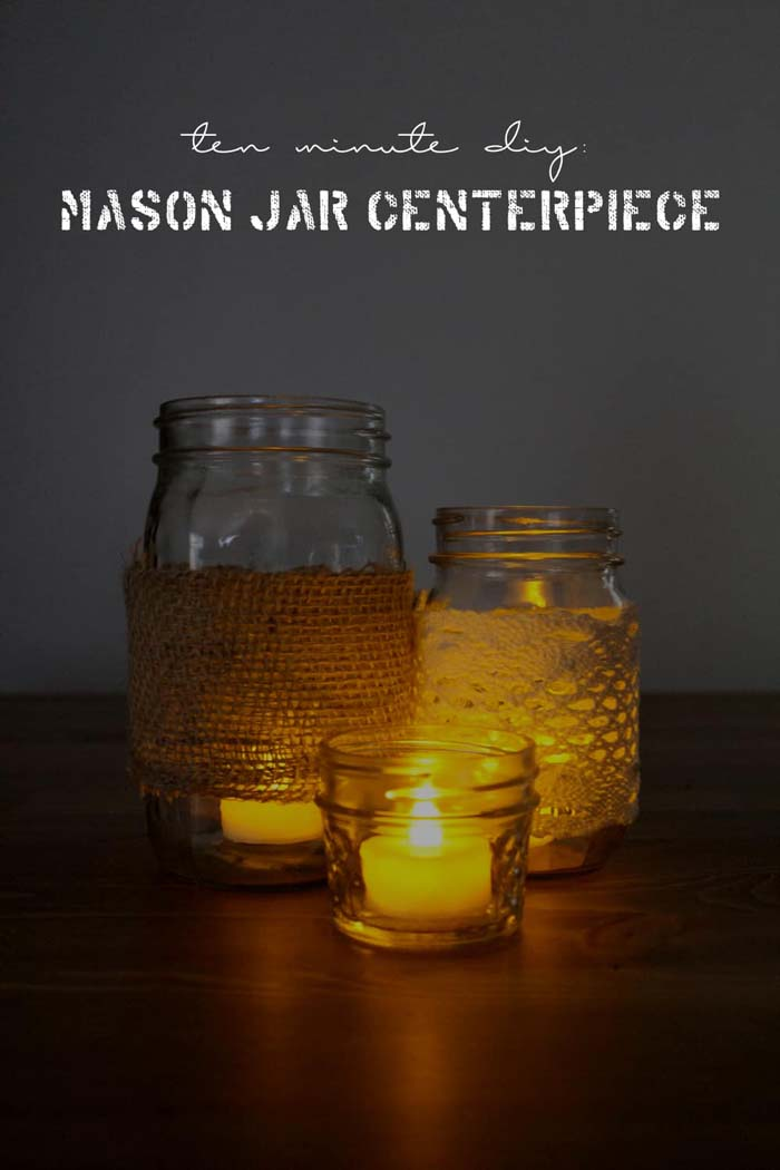 Ten Minute Mason Jar Centerpiece DIY #diy #masonjar #lights #decorhomeideas