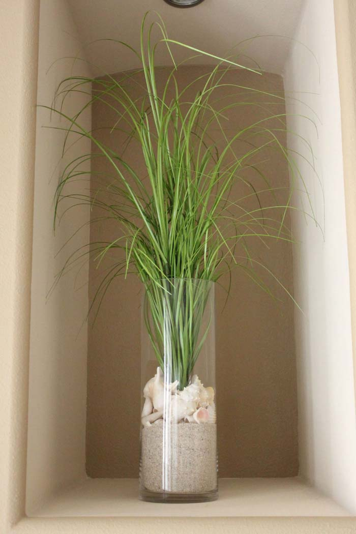 Tropical Vegetation Seashore Themed Vase #beach #coastal #decoration #decorhomeideas