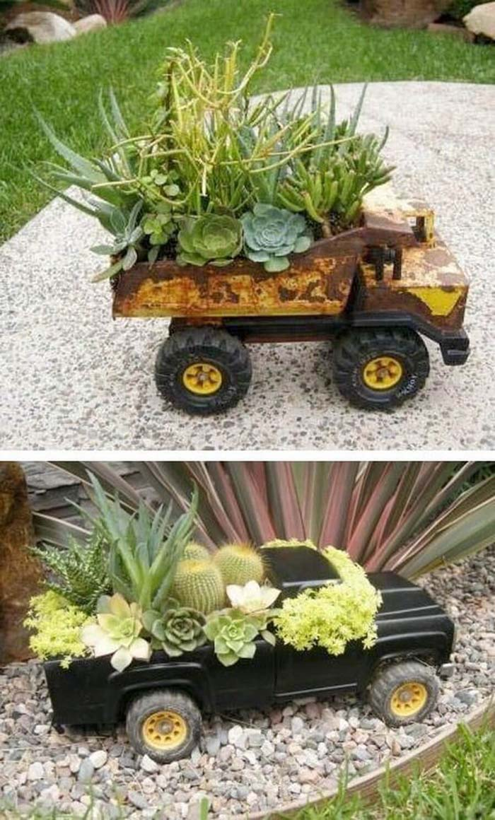 Upcycled Toy Truck Garden Planters #garden #container #planter #decorhomeideas