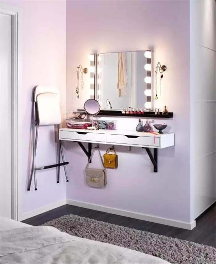 A Vanity with Hooks, Drawers, and Lighting #bedroom #small #design #decorhomeideas