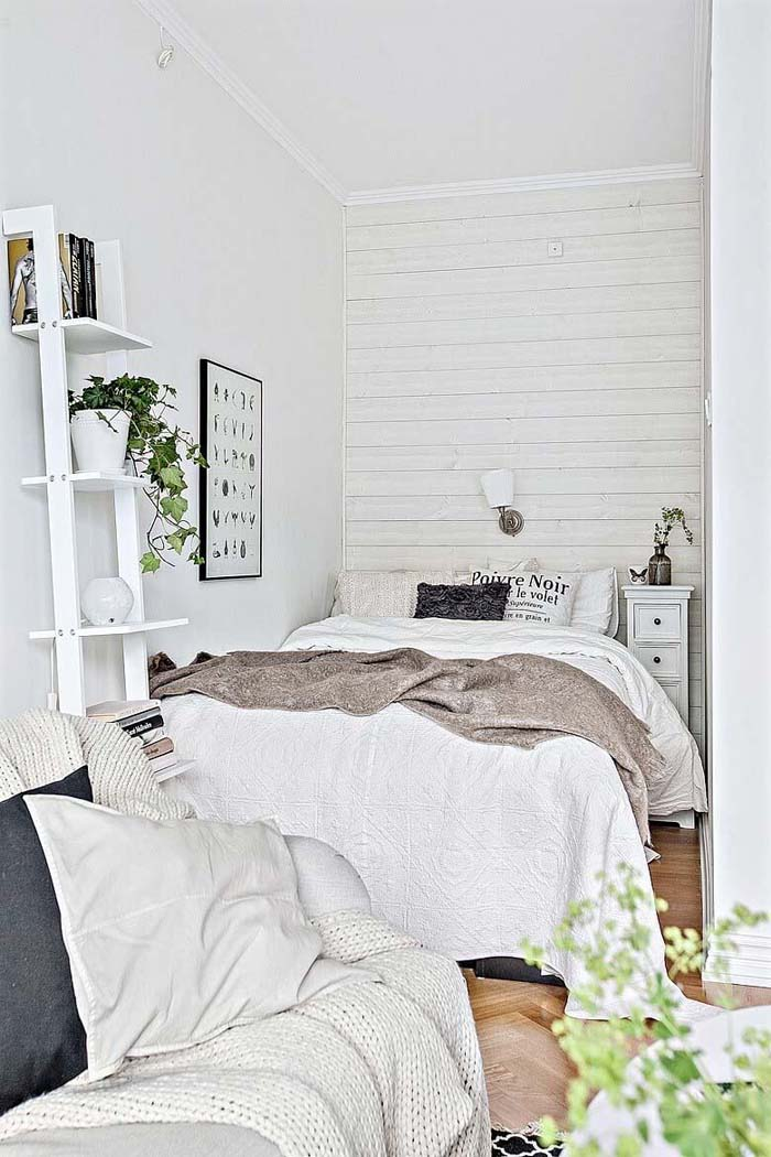 Welcoming White Shelves and Green Plants #bedroom #small #design #decorhomeideas
