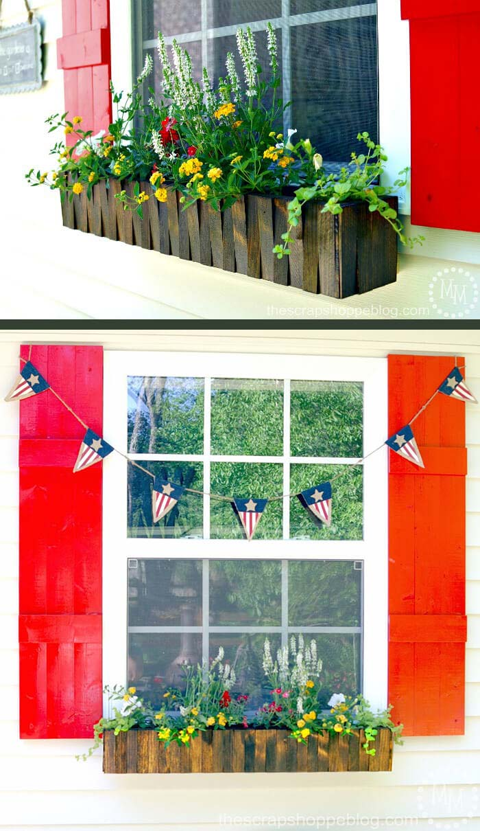 Wood Picket Fence Style Flower Box #planter #box #window #decorhomeideas