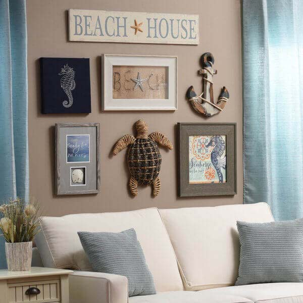Beach House Memories Collage-Style Collection #wall #decor #sofa #decorhomeideas