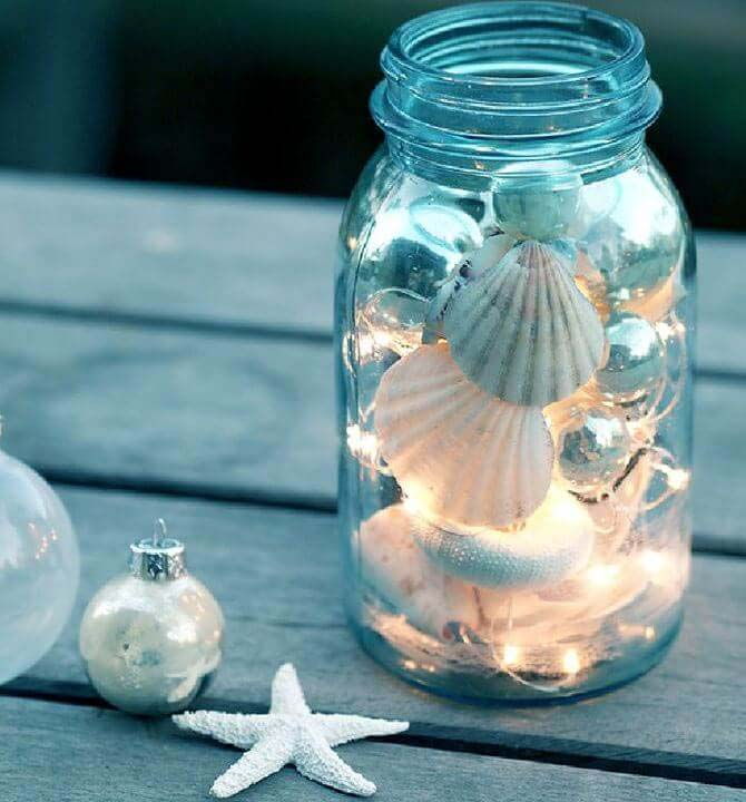Beach Inspired Sparkling Mason Jars #diy #seashell #decor #decorhomeideas