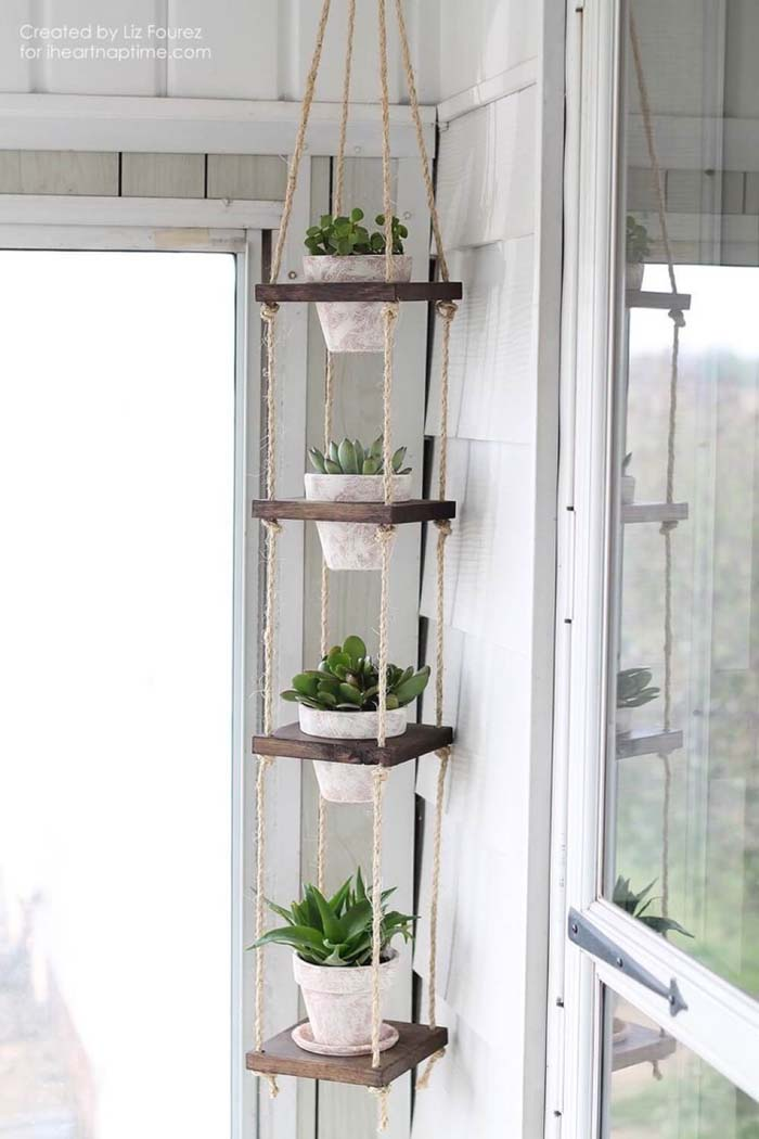 Beautiful Hanging Plant Shelves #reclaimed #wood #projects #decorhomeideas