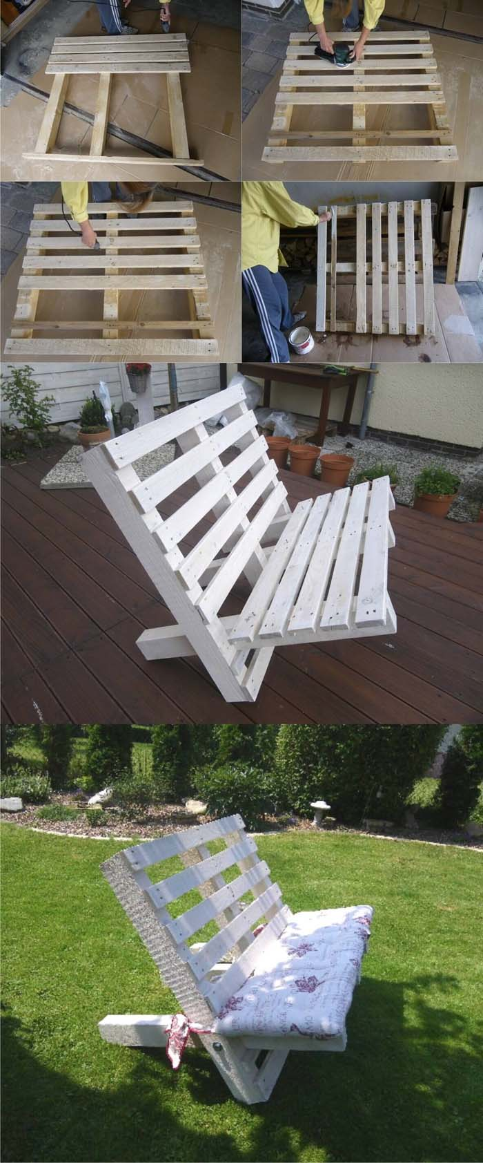 A White Bench Created From Two Pallets #pallet #garden #furniture #decorhomeideas