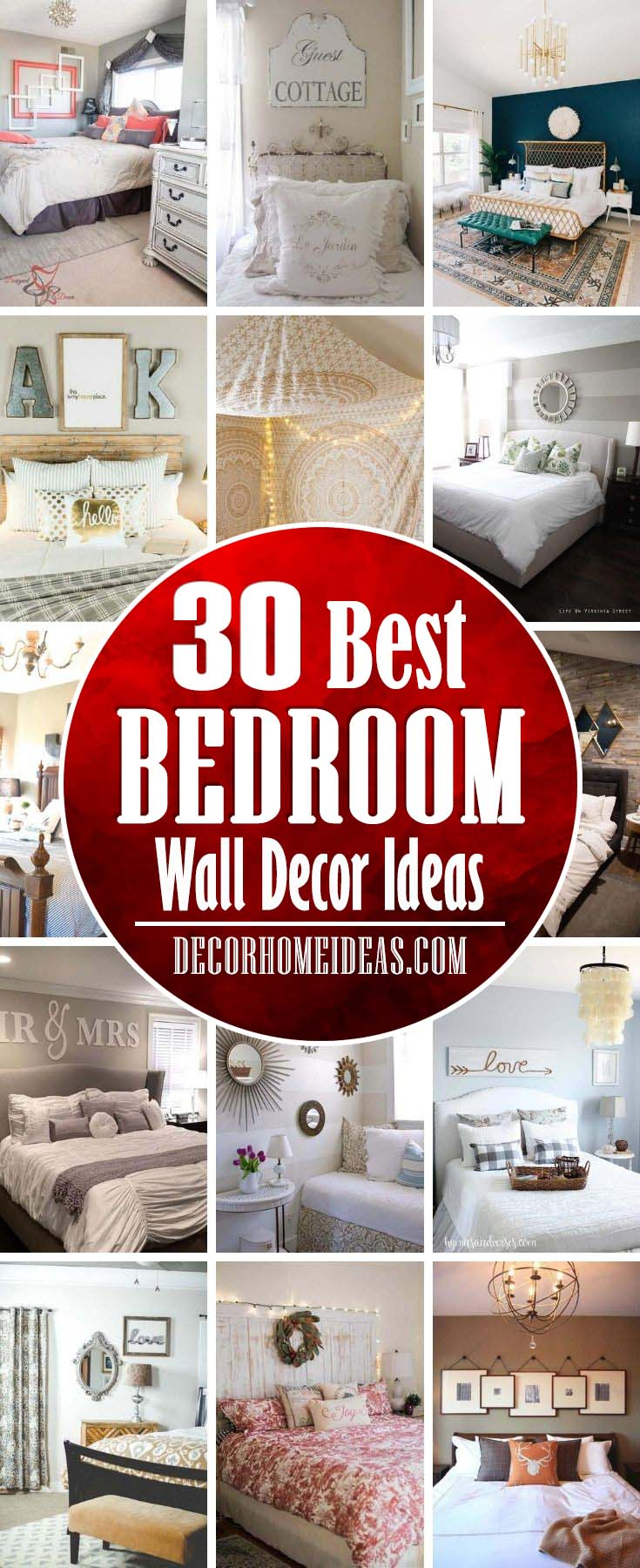 Best Bedroom Wall Decor Ideas. Get some creative bedroom wall decor ideas to add personality and charm to your home. Headboards, signs, rugs and mirrors are some of the accents. #decorhomeideas